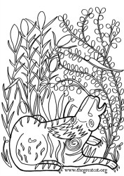 Lion, 12-13th century, cat coloring book, adult coloring book, Medieval Cats Coloring Book