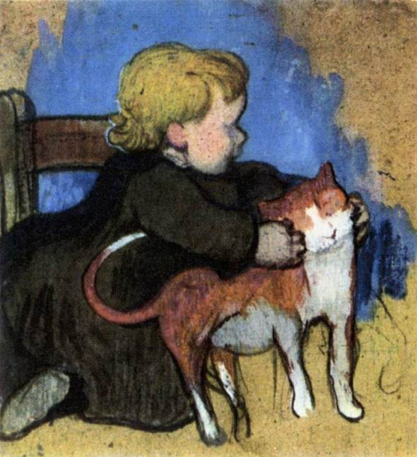 Mimi and her cat, Paul Gauguin, 1890