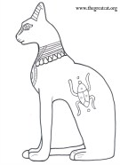 Seated Bastet, Ancient Egyptian Cats A Coloring book