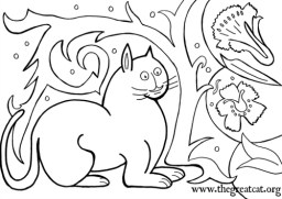 White Cat, 1500, cat coloring book, adult coloring book, Medieval Cats Coloring Book