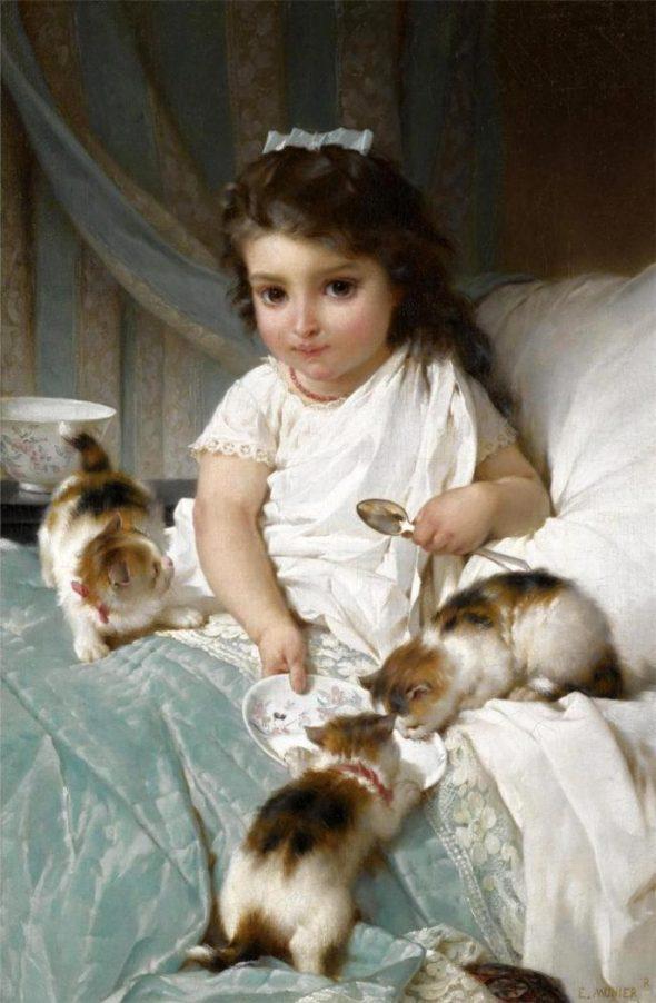 Emile Munier (1840 - 1895) Feeding New Friends, 1882