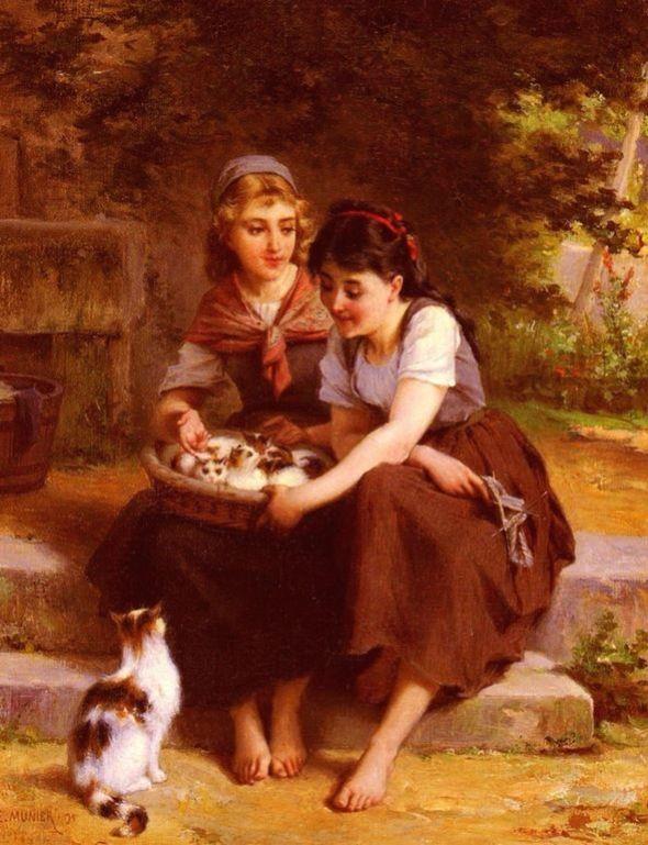 Emile Munier - Deux filles avec un panier de chatons, two girls with a basket of kittens