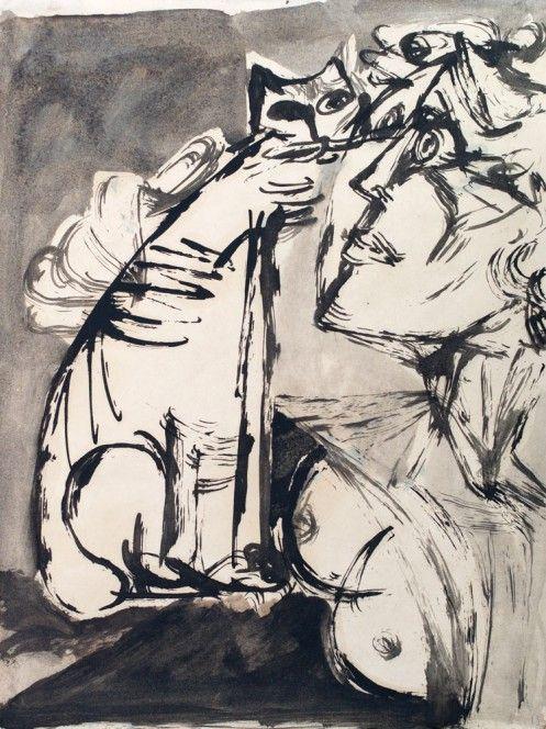Jankel Adler, Woman and Cat