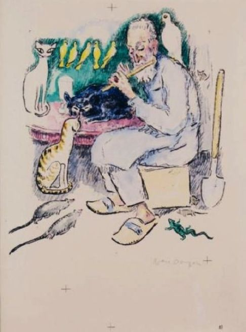 Kees Van Dongen man with cats and birds