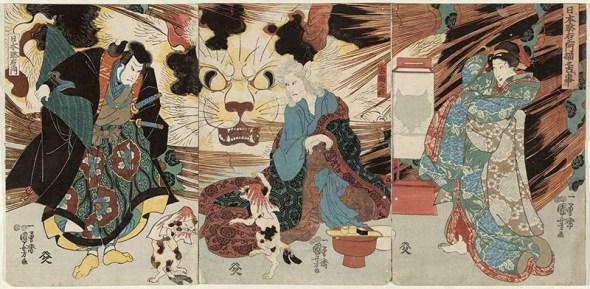 Cat Witch of Okabe - UTAGAWA KUNIYOSHI (2), cats in Japanese art