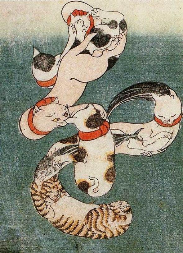 Cats Join to Form the Vocabulary of Fish Bonito' by Japanese artist Utagawa Kuniyoshi (1797-1861)