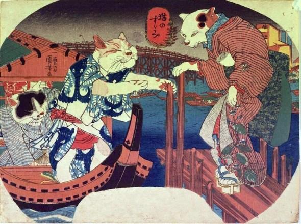 Cats' cooling off on a boat) by Utagawa Kuniyoshi, Edo period