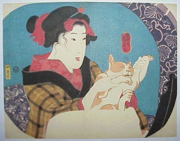 Geisha Holding a Cat, Utagawa Kuniyoshi