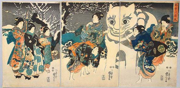 Giant Snow Cat - Kuniyoshi Utagawa 1797-1861
