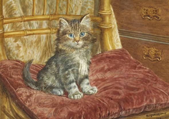 Kitten Seated on a Red Cushion, Wilson Hepple