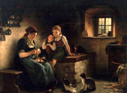 Rudolf Epp (1834-1910), 'Peeling Apples' with cat