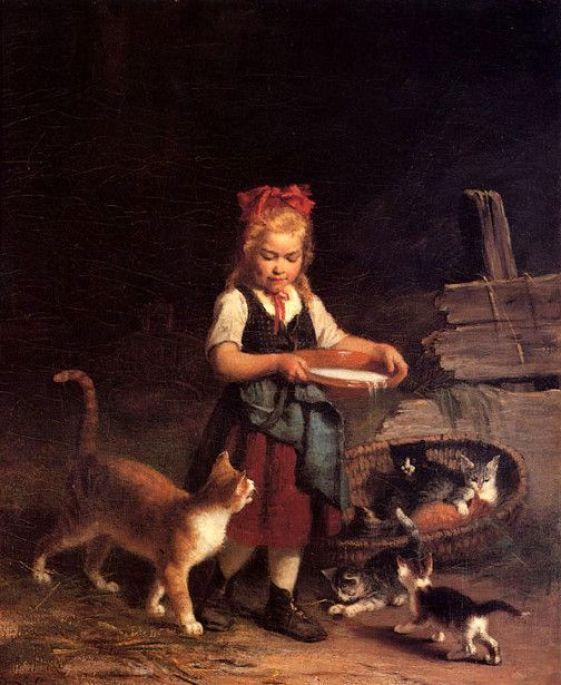 The Milk Bowl ~ Rudolf Epp, cats in art