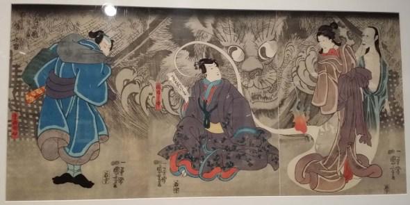 The Old Story of the Okazaki Cat Demon in an Old Temple Inabanosuke and Teranishi Kanshin. Print by Utagawa Kuniyoshi, Japanese cat demon, cats in Japanese art