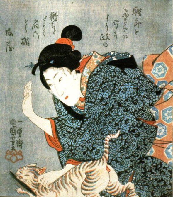 Utagawa Kuniyoshi, Geisha Spanking a Cat