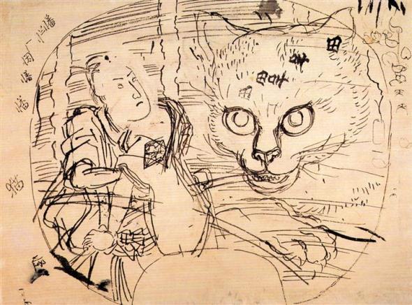 Utagawa Kuniyoshi the actor ichumura-meeting a cat ghost
