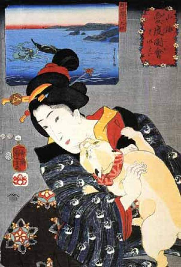 Geisha and Cat Utagawa Kuniyoshi