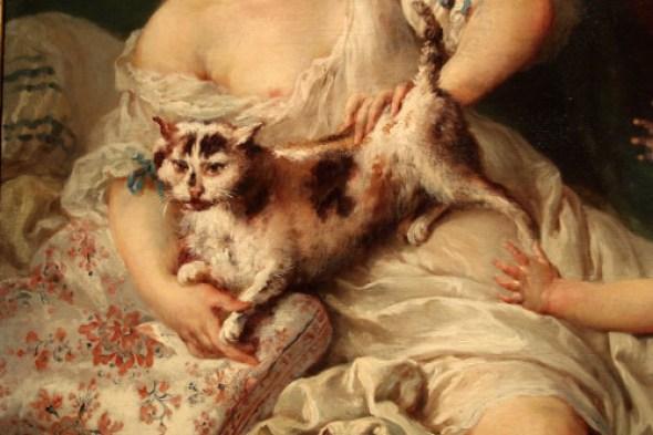 Francois Boucher, Detail, The Surprise, woman with a cat