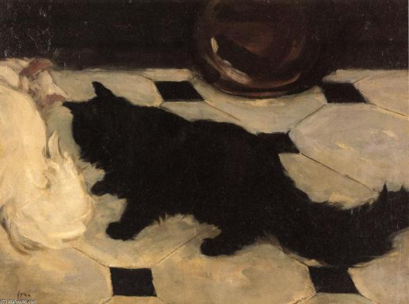 John French Sloan, Green's Cat, 1900