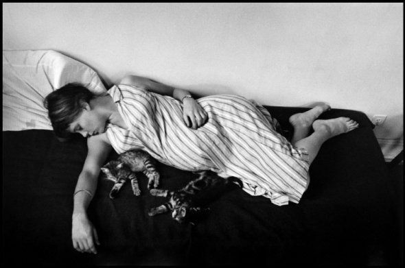 Louise with two kittens, NYC 1953b Elliott Erwitt