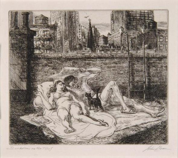Sunbathers on the Roof John Sloan (1871-1951) cats