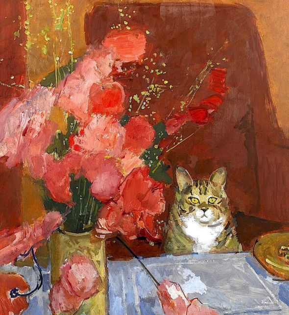 Ruskin Spear, Cat and Flowers at the Table