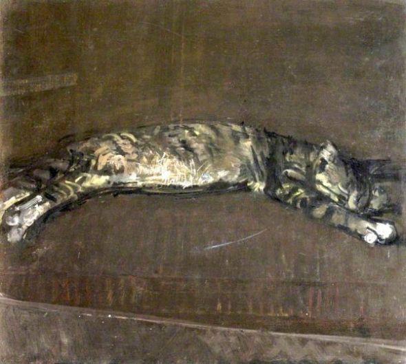 Ruskin Spear, Sleeping cat on sofa