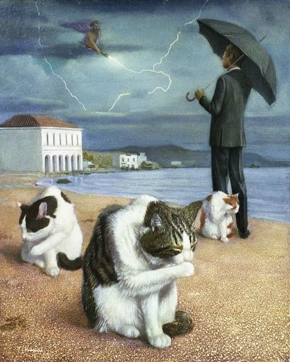 Tokuhiro Kawai umbrella beach cat art
