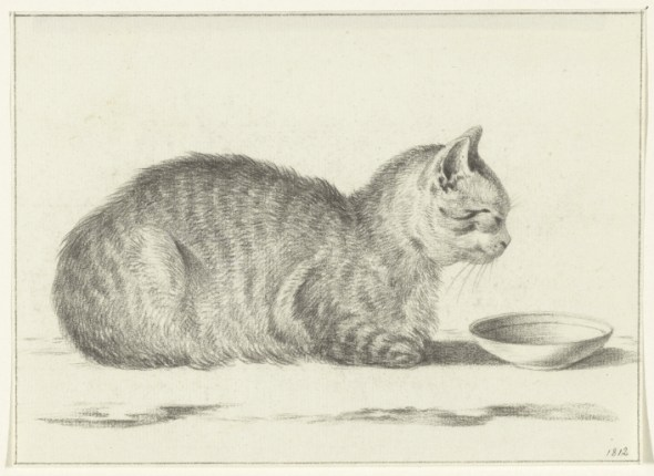 Cat and Bowl, 1812, Jean Bernard