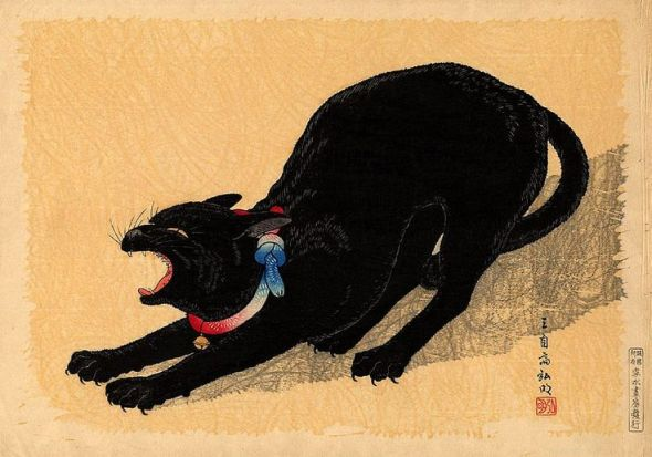 Chat à la clochette HiroakiTakahashi Shotei(1871-1945), Japanese cat art
