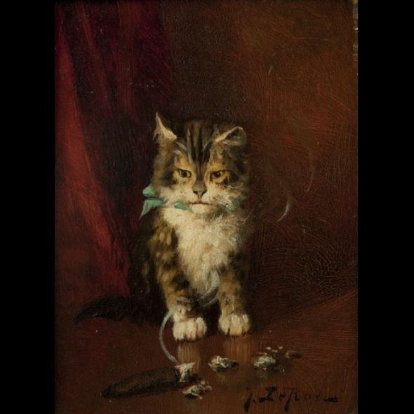 Jules Le Roy, Chat au ruban bleu et au cigare (Cat with Blue Ribbon and Cigar)