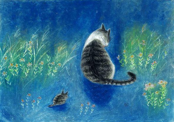 Kanoko Takeuchi, Cat and Kitten on Blue