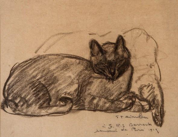 1919 Théophile Alexandre Steinlen Study of a Cat Resting on a Pillow