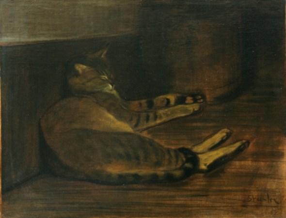 Cat Sleeping on Floor, Theophile Steinlen