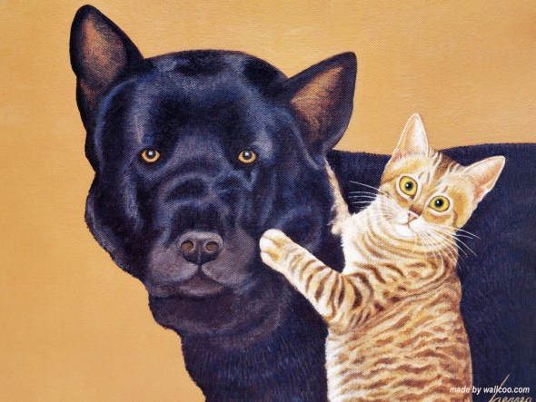 Kitten and Black Dog, Lowell Herrero