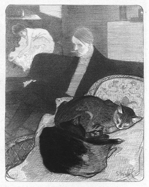 Man and Woman and Two Cats Sleeping, Theophile Steinlen