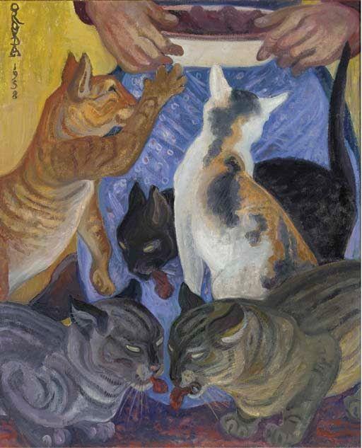Orovida Camille Pissarro (1893-1968) - Five cats, 1958
