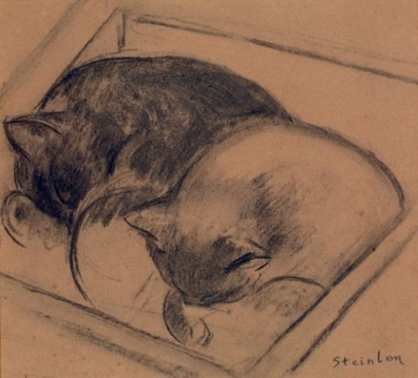 Two Cats Sleeping, Theophile Steinlen