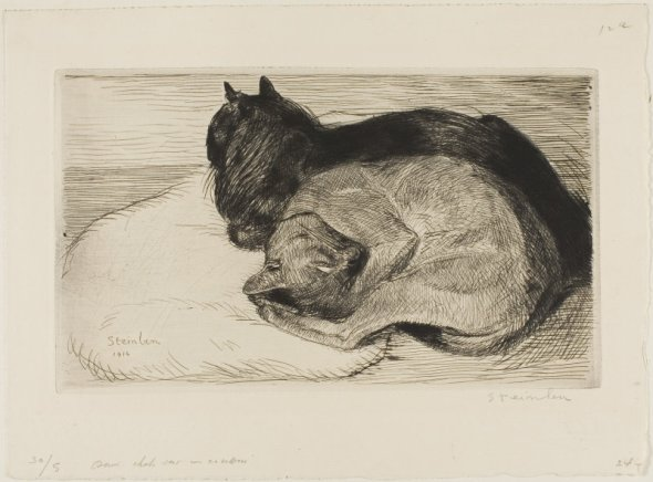 Two Cats on a Cushion, 1914, Theophile Steinlen