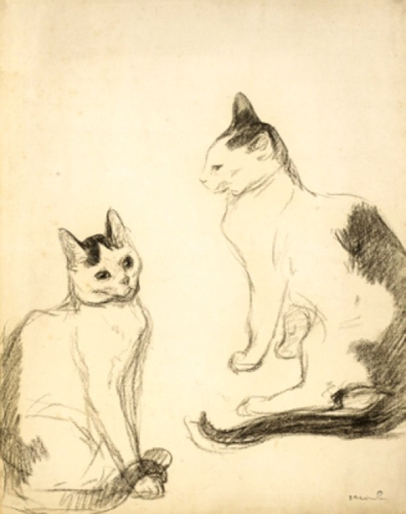 Two Seated Cats, Theophile Steinlen