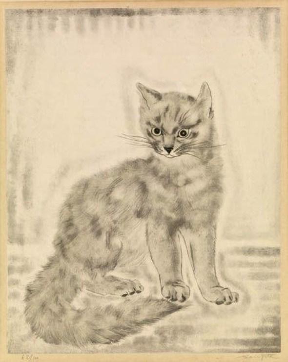 Cat by Tsuguharu Foujita. Etching, 1920.