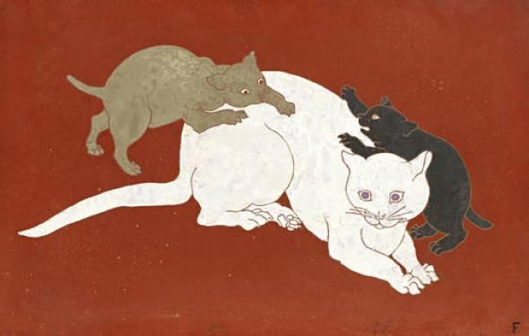 Cat with Kittens, Leonard Foujita