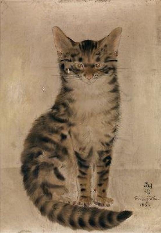 Léonard Tsuguharu Foujita, Red Cat Sitting (Chat Roux Assis), 1930.