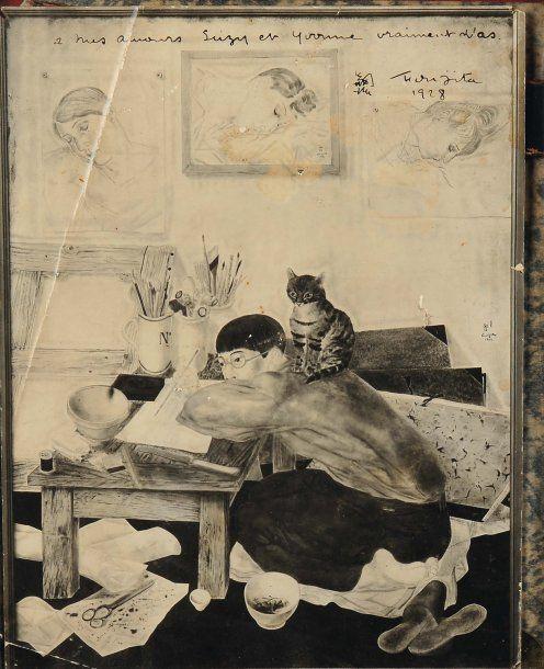 Self portrait, Foujita with Cat on Back