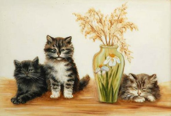 Three Kittens and a Vase, Bessie Bamber