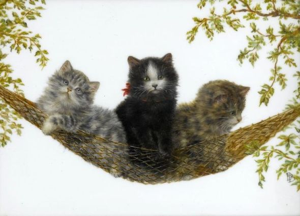 Three Kittens in a Hammock, Bessie Bamber