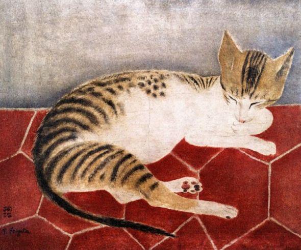 Tsugouhoru Foujita (1886-1968), 1918, Reclining Cat, oil on canvas.