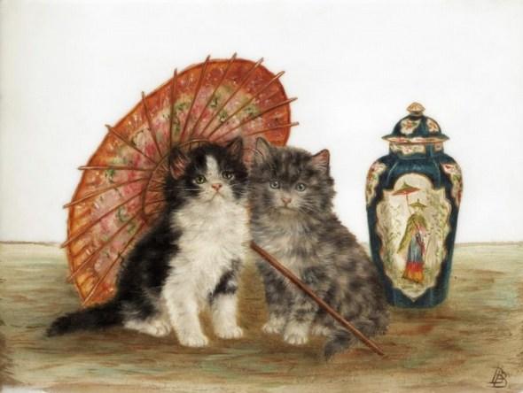 Two Kittens Umbrella and Vase, Bessie Bamber