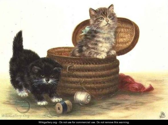 Two Kittens and a Sewing Basket, Bessie Bamber