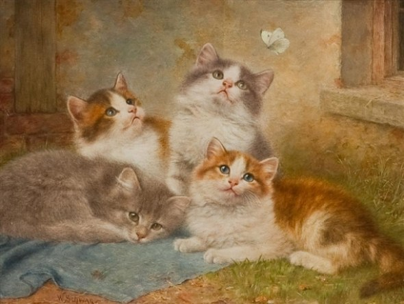 Wilhelm Schwar, Four Kittens and a Butterfly
