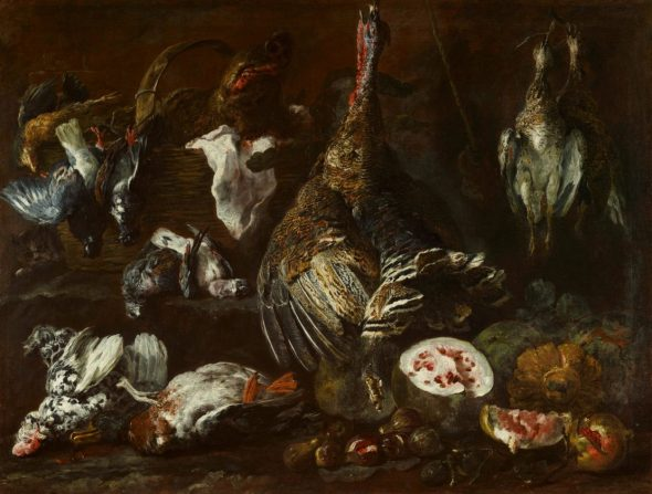 Jan Fyt (Antwerp 1611 - Antwerp 1661), Still Life with Birds and Fruit, and a Cat